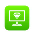 screen with diamond icon digital green vector image vector image