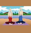 senior couple doing yoga exercise vector image vector image