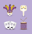set mardi gras masks with joker hat and drum vector image