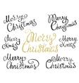 set merry christmas handmade lettering vector image vector image