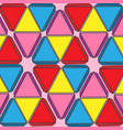 set of colored triangles geometric background pink vector image