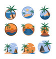 set of tropical travel island graphic template vector image vector image