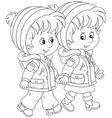 Small children walking vector image vector image