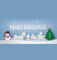 snow man in the village vector image vector image