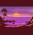 tropical beautiful sunset landscape palms sea vector image