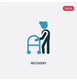 Two color recovery icon from people concept