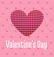 valentines day card with hearts and pattern pink vector image