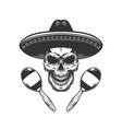 vintage monochrome skull in sombrero hat vector image vector image