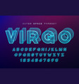 virgo futuristic decorative font design alphabet vector image