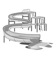 Waterslide in pool icon gray monochrome style vector image vector image