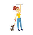 woman holds the handrail keeping dog leash vector image vector image