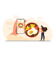 young female character food blogging on her vector image