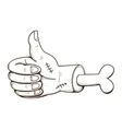 Zombie hand thumbs up vector image
