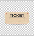 old ticket with grunge effect flat on isolated vector image