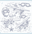retro biplane set icons old aircraft on a vector image