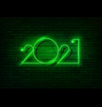 2021 new year glowing green neon signboard vector image
