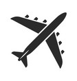 airplane black icon flying vehicle for sky travel vector image vector image