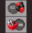 black friday price tag with shopping cart gift box vector image