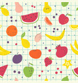 cartoon fruits hand draw seamless pattern vector image vector image