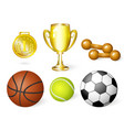 cartoon sport equipment set vector image vector image