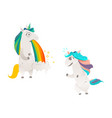 cartoon unicorn character isolated set vector image vector image