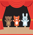 childrens puppet theater scene with cute animals vector image