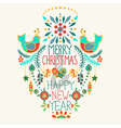 Christmas background with cute floral ornament and vector image vector image