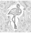 coloring page with doodle style flamingo in vector image vector image