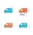 delivery icon set van service order 24 hour vector image