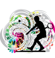 Drawing of woman playing tennis vector image