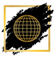 earth globe sign golden icon at black vector image
