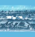 family polar bears walking at night in the vector image