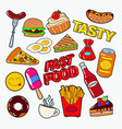 fast food doodle with pizza burger and fries vector image vector image