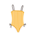 female one-piece swimsuit stylish yellow strapped vector image