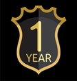 Golden shield 1 year vector image vector image