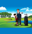 grandfather teaching his grandson playing golf vector image