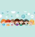 group different teenagers wearing mask vector image vector image