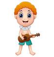 hawaiian boy playing a guitar vector image vector image