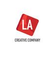 initial letter la logo template design vector image vector image