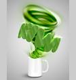 kiwi yoghurtdrink in a cup realistic vector image vector image