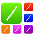 little knife set color collection vector image vector image