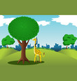 man reaching for money on a tree vector image vector image