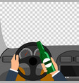 man using alcohol while driving a car is a vector image