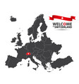 map of europe with the state of switzerland vector image