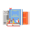 micro young women and man sitting on a giant books vector image vector image