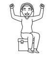 mom sit on an ice box and feeling happy character vector image vector image