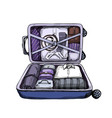 neat opened business suitcase ready to journey vector image vector image