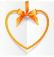 Orange hanging heart frame on silky ribbon with vector image vector image