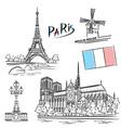 Paris landmark vector image