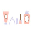 pedicure icons set pedicure accessory tools vector image vector image